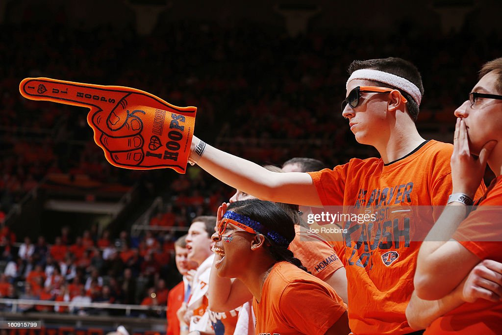 Illinois Fighting Illini fans cheer against the Indiana Hoosiers during the game at Assembly Hall on February 7, 2013 in Champaign, Illinois. Illinois defeated No. 1 ranked Indiana 74-72.