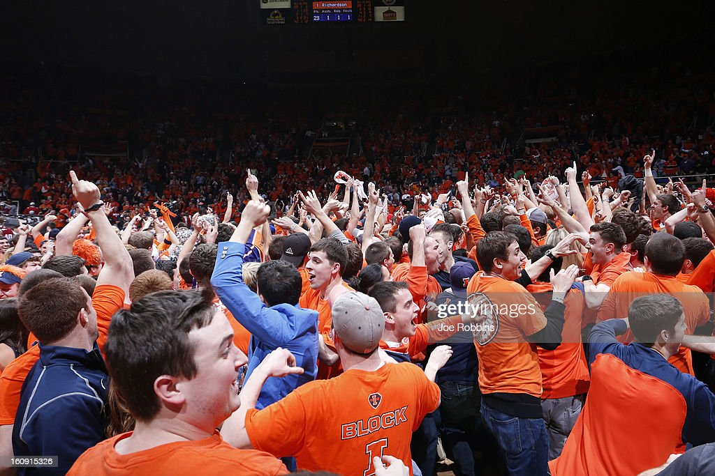 Illinois Fighting Illini fans storm the floor after the game against the Indiana Hoosiers at Assembly Hall on February 7, 2013 in Champaign, Illinois. Illinois defeated No. 1 ranked Indiana 74-72.