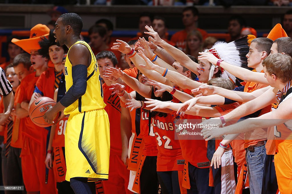 Illinois Fighting Illini fans try to distract Tim Hardaway Jr. #10 of the Michigan Wolverines on an inbounds pass during the game at Assembly Hall on January 27, 2013 in Champaign, Illinois. Michigan defeated Illinois 74-60.
