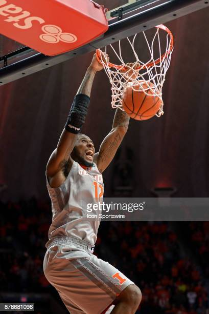 Illinois Fighting Illini forward Leron Black dunks the ball during the college basketball game between the North Carolina Central Eagles and the...