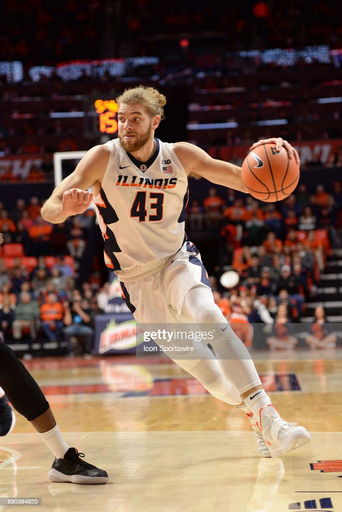 Illinois Fighting Illini forward Michael Finke (43) dribbles to the basket during the college basketball game between the Austin Peay Governors and the Illinois Fighting Illini on December 6, 2017, at the State Farm Center in Champaign, Illinois.