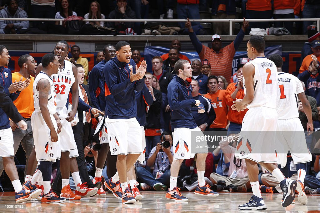 Illinois Fighting Illini players celebrate against the Indiana Hoosiers during the game at Assembly Hall on February 7, 2013 in Champaign, Illinois. Illinois defeated No. 1 ranked Indiana 74-72.