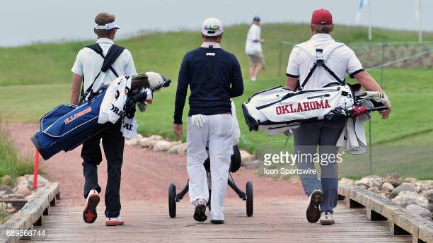 Illinois Fighting Illinis Dylan Meyer UNLV Rebels John Oda and Oklahoma Sooners Brad Dalke walking from the first tee during round 3 of the Division...