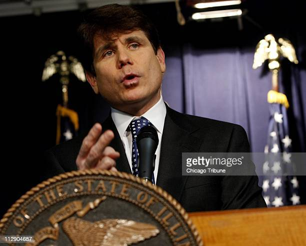 Illinois Gov Rod Blagojevich discusses his impending impeachment trial in the Illinois Senate as he meets with reporters on Friday January 23 in...