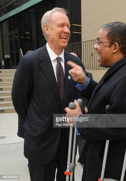 Illinois governor Bruce Rauner attends the funeral for Ernie Banks at Fourth Presbyterian Church on January 31 2015 in Chicago Illinois