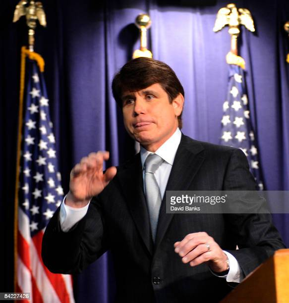 Illinois Governor Rod Blagojevich holds a press conference at the James R Thompson Center on January 9 2009 in Chicago Illinois The Illinois House of...