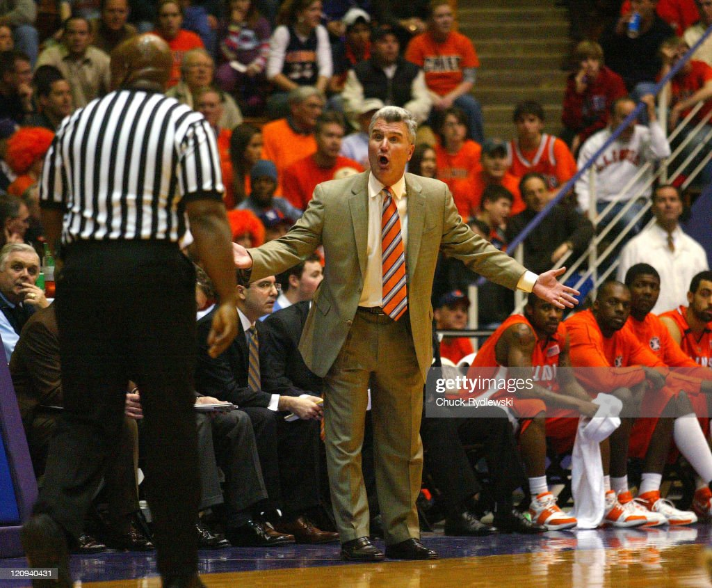 Illinois Head Coach, <a gi-track='captionPersonalityLinkClicked' href=/galleries/search?phrase=Bruce+Weber+-+Basketball+Coach&family=editorial&specificpeople=15087708 ng-click='$event.stopPropagation()'>Bruce Weber</a>, gets the ear of a referee during their game against the Northwestern Wildcats February 7, 2007 at Welsh-Ryan Arena in Evanston, Illinois. The Illini would defeat would defeat the Wildcats 58-43.