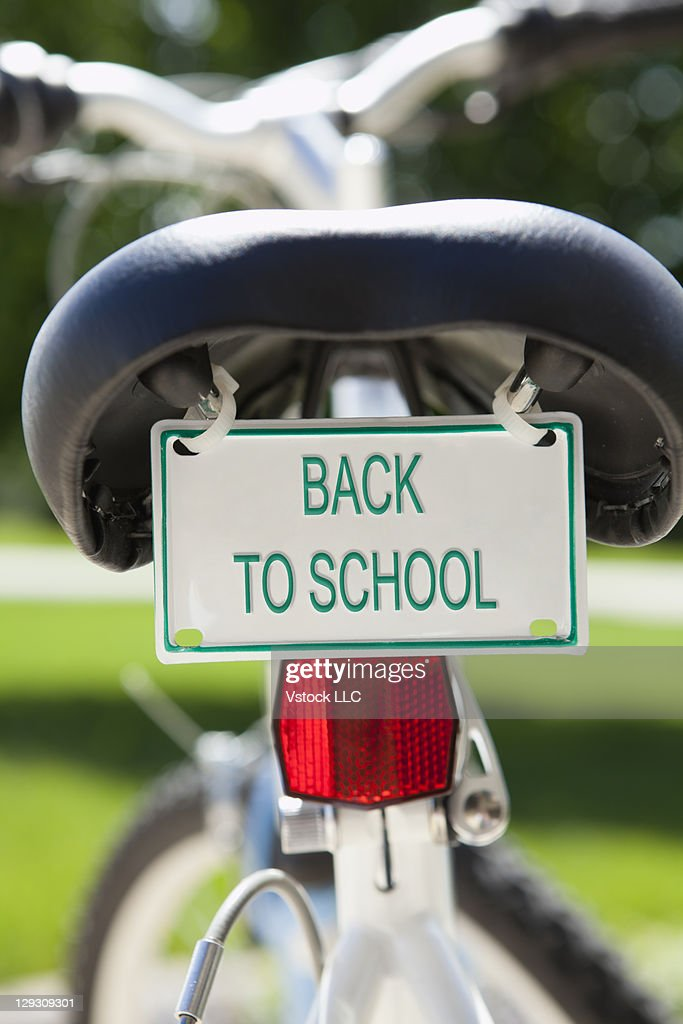 USA, Illinois, Metamora, bike with license plate reading BACK TO SCHOOL
