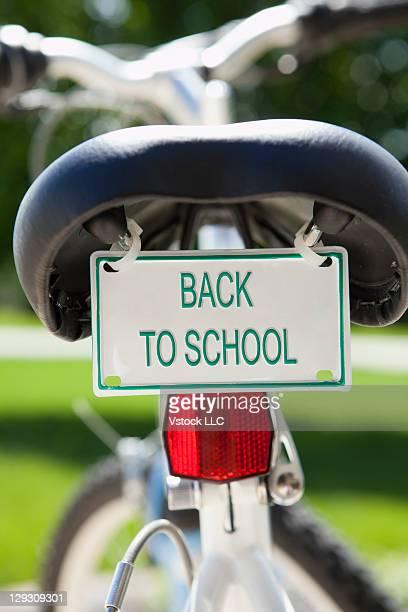 USA, Illinois, Metamora, bike with license plate reading BACK TO SCHOOL