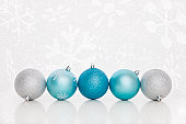 USA, Illinois, Metamora, Blue and silver christmas baubles