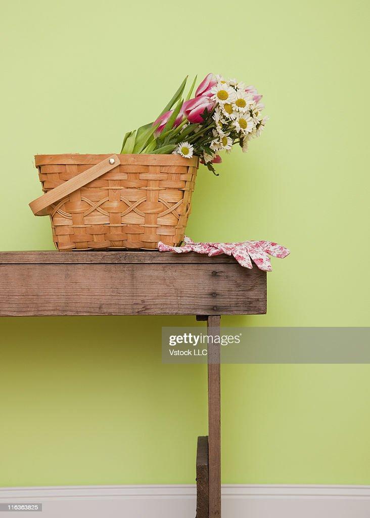 Flower Baskets Usa : Usa illinois metamora bunch of flowers in basket on wooden