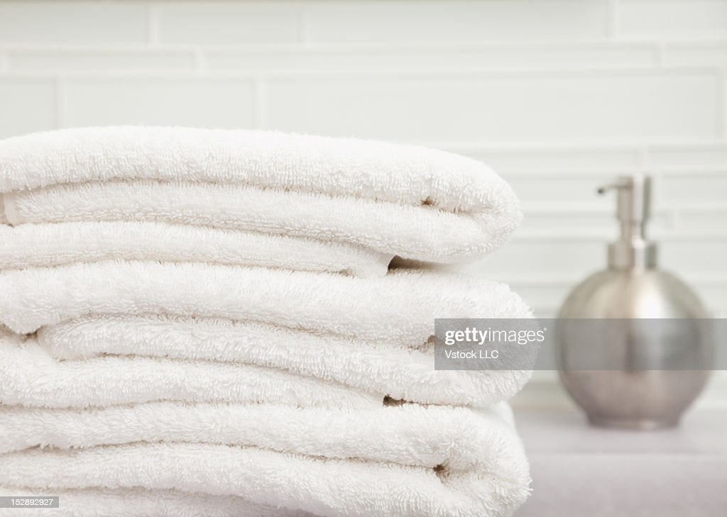 USA, Illinois, Metamora, Focus On Stack Of Towels In Bathroom Part 94