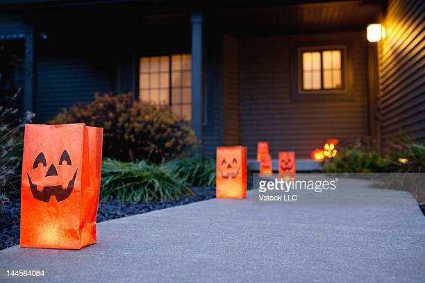 USA, Illinois, Metamora, Halloween bags on porch