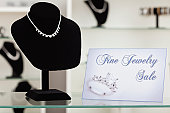 USA, Illinois, Metamora, necklace on display in jewelry store