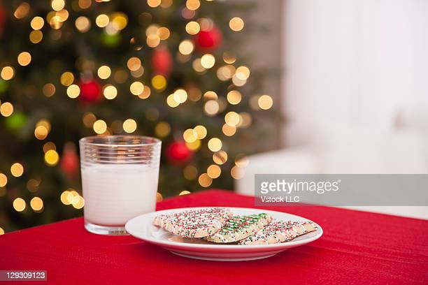 USA, Illinois, Metamora, Plate with cookies and glass of milk for Santa Claus