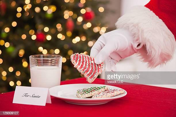 USA, Illinois, Metamora, Santa Claus eating cookie