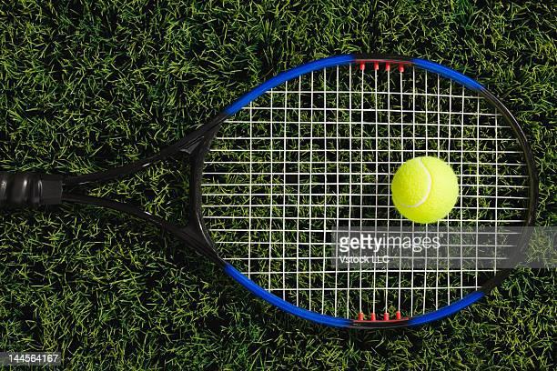 USA, Illinois, Metamora, Tennis racket and ball on grass