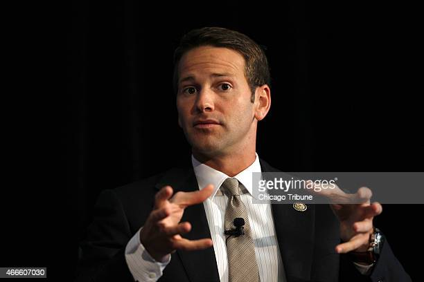 Illinois Rep Aaron Schock speaks on the panel at the George W Bush Institute forum at the Art Institute in Chicago in September 2012 Schock resigned...