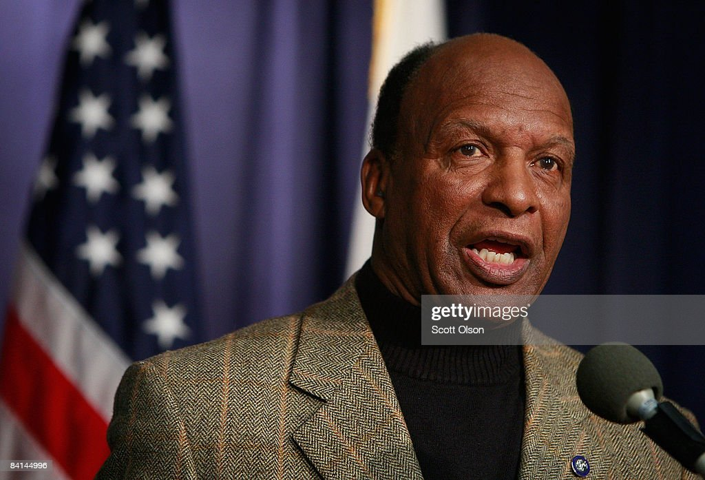 Illinois Secretary of State Jesse White speaks to the media following a press conference by Governor Rod Blagojevich where Blagojevich named Illinois...