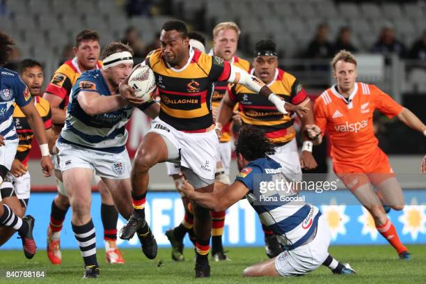 Illisea Ratuva Tavuyara of Waikato takes on the Auckland defence during the round three Mitre 10 Cup match between Auckland and Waikato at Eden Park...