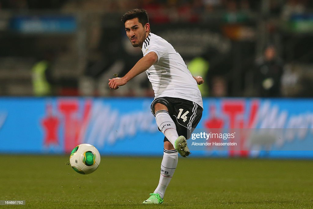 Illkay Guendogan of Germany runs with the ball during the FIFA 2014 World Cup qualifier group C match between Germany and Kazakhstan at Gundig-Stadion on March 26, 2013 in Nuremberg, Germany.