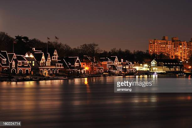 Illumianted Boathouse Row with Reflection in Philadelphia