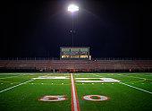 Illuminated American football field at night