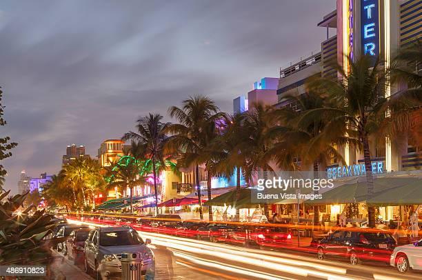 Illuminated Art Deco Buildings in Ocean Drive