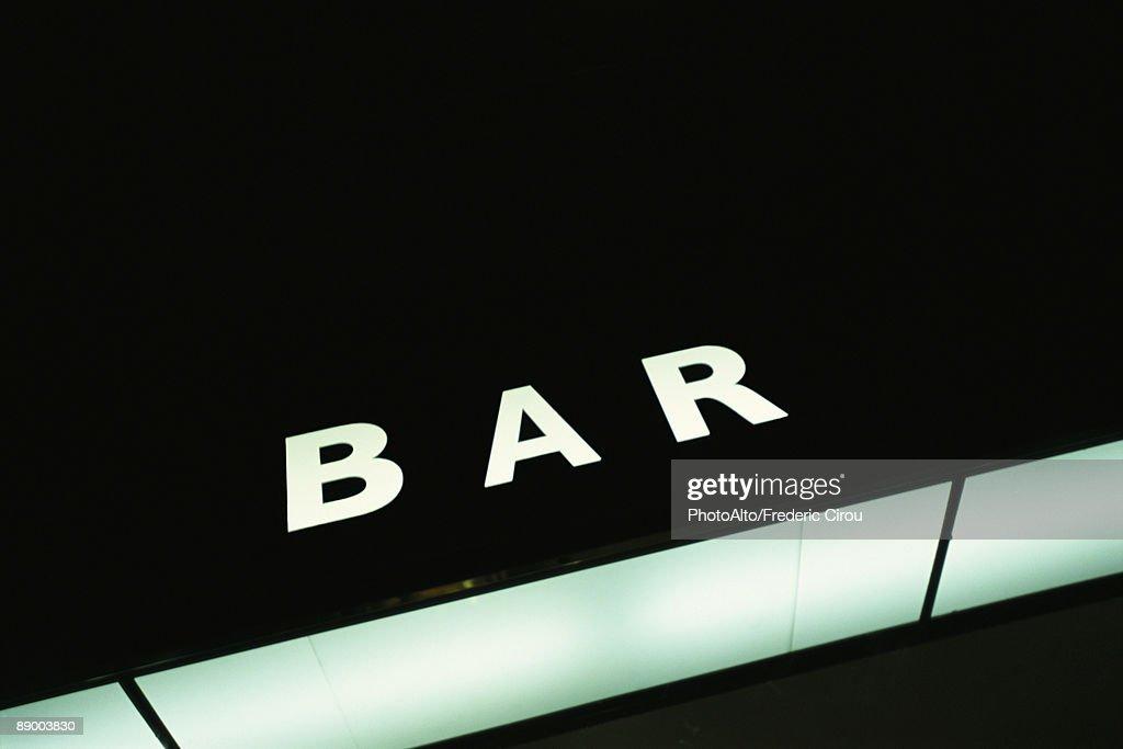 Illuminated bar sign : Stock Photo