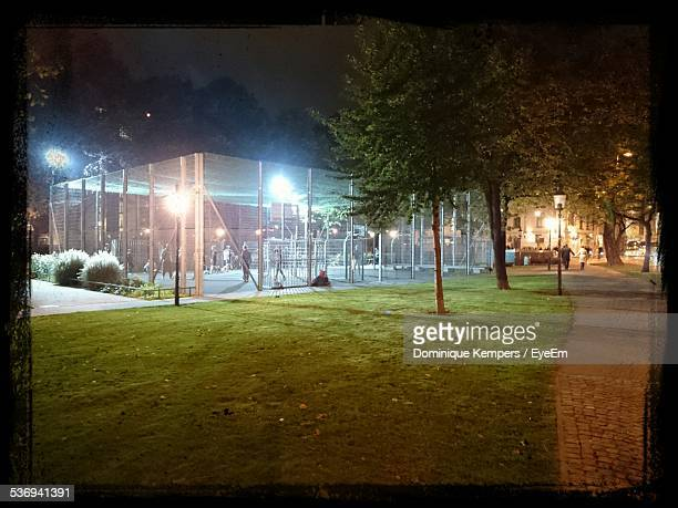 Illuminated Basketball Court In City