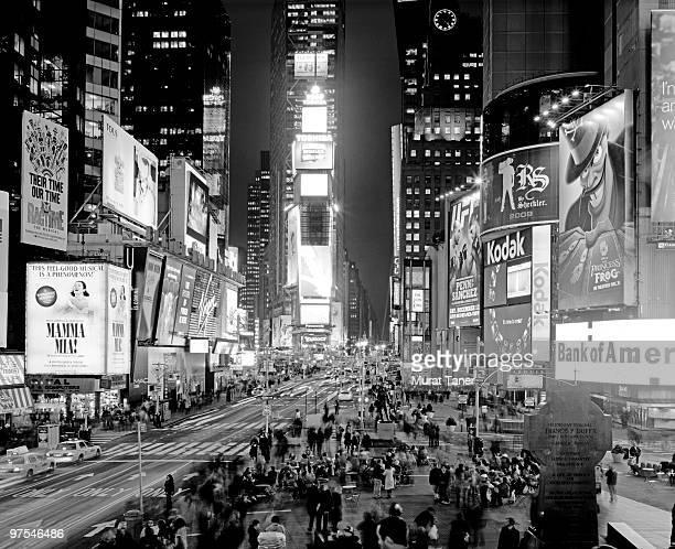 Illuminated billboards in a city