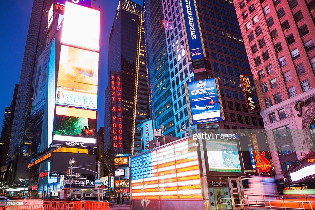 Illuminated billboards Times Square at night, New York, USA : Stock Photo