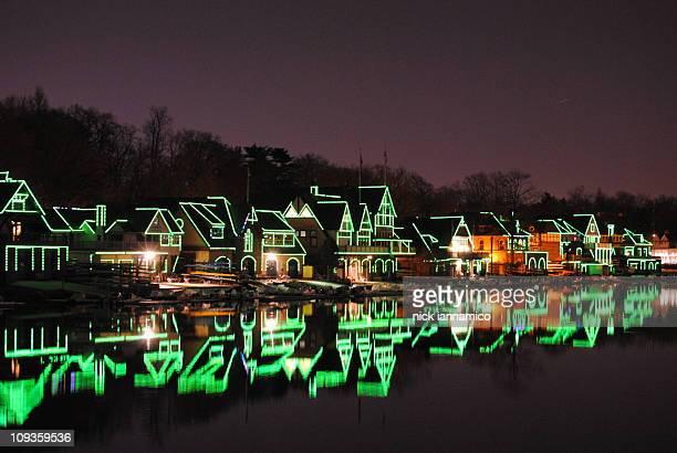 Illuminated boat house row