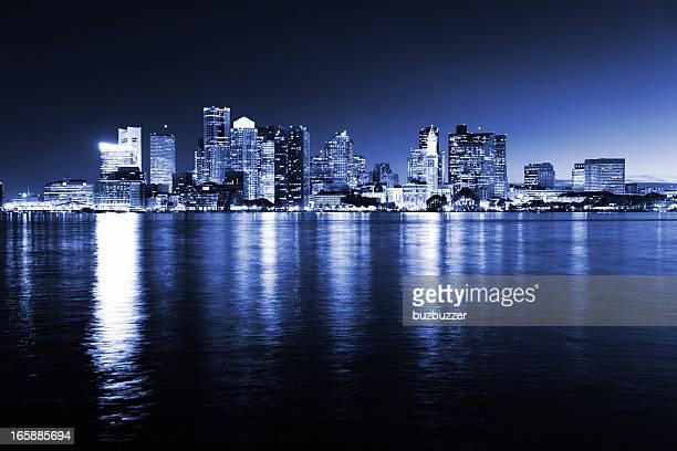 Illuminated Boston City Night in Monochromatic Blue