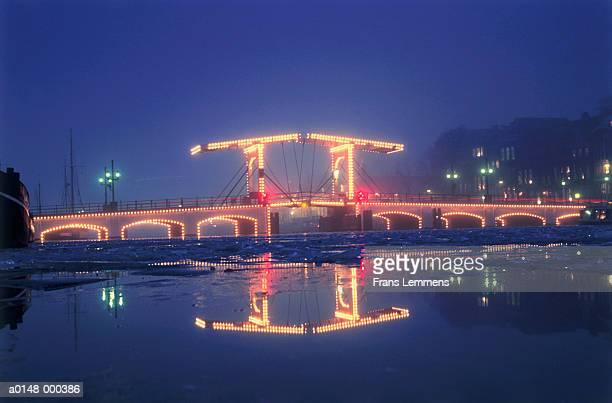 Illuminated Bridge at Sunset