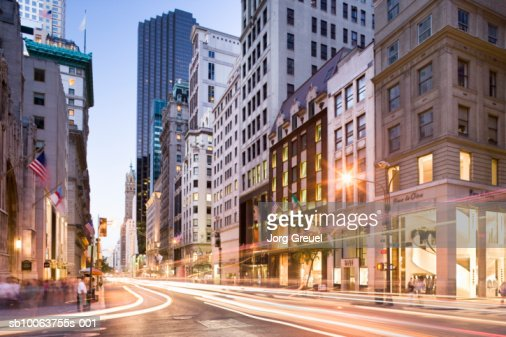 illuminated building and street at Fifth Avenue