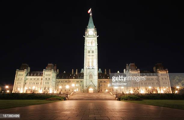 Illuminated Canadian Parliament Building at Night