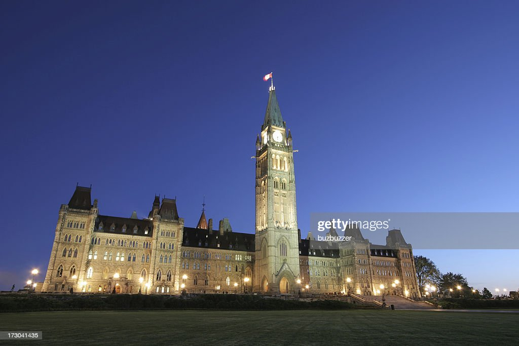 Illuminated Canadian Parliament Building at Sunset : Stock Photo