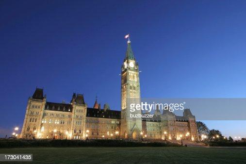 Illuminated Canadian Parliament Building at Sunset : Stock Photo