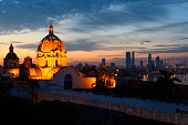 Illuminated cathedral dome, Cartagena, Cartagena, Colombia