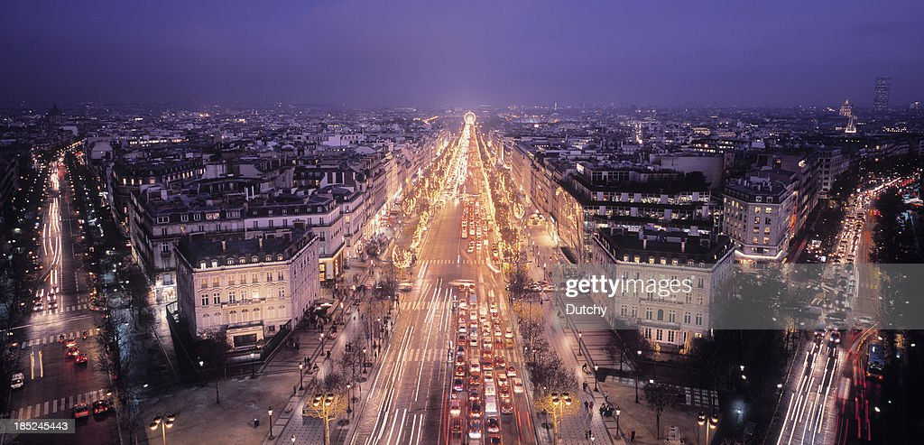 'Illuminated Champs-ElysAes in Paris, France'