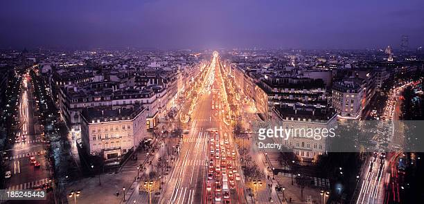 Illuminated Champs-Elysées in Paris, France