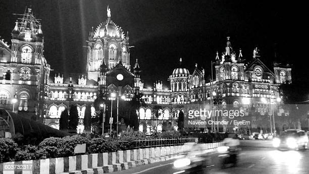 Illuminated Chhatrapati Shivaji Terminus At Night