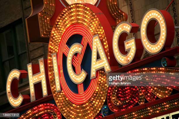 Illuminated Chicago Theater Sign, Chicago, IL, USA