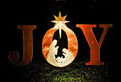 Large Christmas decoration of letters spelling out the word JOY with a star and a cut-out of Mary, Joseph, and baby Jesus are illuminated by a spotlight on a suburban lawn at night.