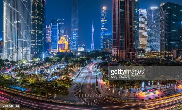 Illuminated city at night, Guangzhou, Guangdong, China