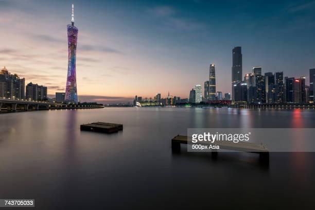Illuminated city at sunset, Guangzhou, Guangdong, China