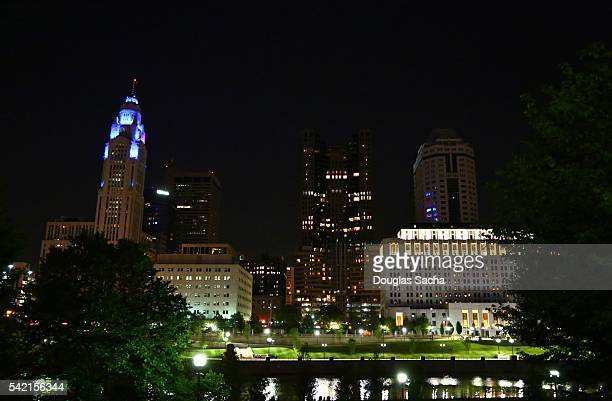 Illuminated city skyline along the Water, Columbus, Ohio, USA