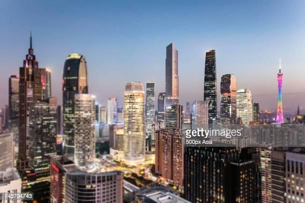 Illuminated cityscape at night, Guangzhou, Guangdong, China