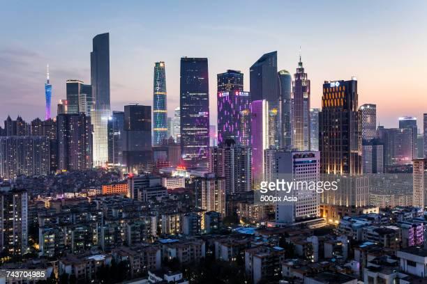 Illuminated cityscape at sunset, Guangzhou, Guangdong, China
